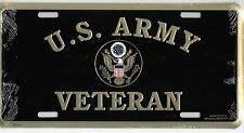 Military License Plate Frame U.S. Army Veteran Gold w/Army Crest on Black Metal!