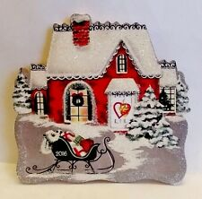 FUNDRAISER PIECE, SNOWY RED COTTAGE w SLEIGH, HEARTS for HEAT CHRISTMAS ORNAMENT