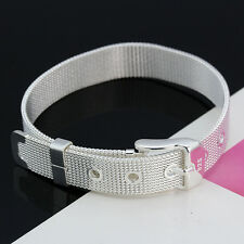 Fashion 10mm Wide Silver Watch Mesh Strap Handsome Men Women Bangle Bracelet