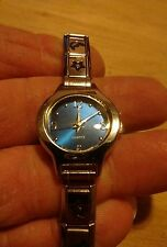 Vtg Blue Dial ladies watch, stars and Crescent Moon band running new battery H