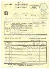NEDERLAND 1871 FISCAAL DOC. GRONDBELASTING  BARNEVELD  ST. 15 C. GELDERLAND