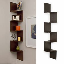 Wall Mount Large Corner Shelf Brown Rack 5 Shelves Zig Zag Furniture Modern