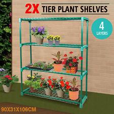 2x Garden Greenhouse steel Plant Storage Shelving frame Stand 4 tier Shelf Rack