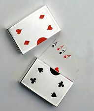 SILVER PLATED PLAYING CARD HOLDERS (PAIR) New Includes Cards