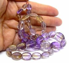 "FACETED AMETRINE CITRINE AMETHYST BEADS 18.5"" STRAND NATURAL PURPLE GOLDEN AAA++"