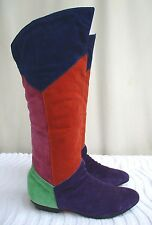 VTG 80's /90's..MULTI-COLOR..SUEDE LEATHER..KNEE HIGH..PIRATE..BOOTS..NEW..sz 6