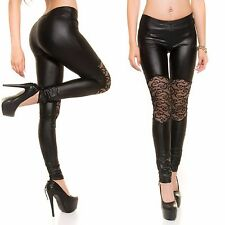 Sexy Koucla Leggings Hose mit Spitze Wetlook Lack Lederlook, S/M 34/36/38/40