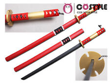 "ONE PIECE Roronoa Zoro Sandai Kitestu Cosplay Red Wooden Swords 39"" Props"