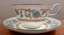 Rare vintage Wedgwood cup and saucer, bold turquoise and lilac floral pattern
