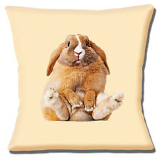 "Cute Novelty Funny Brown Pet Bunny Rabbit Photo Print  16"" Pillow Cushion Cover"