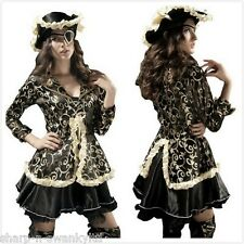 Ladies Sexy Black & Gold Pirate & Hat Halloween Party Fancy Dress Costume Outfit