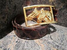 RARE KIESELSTEIN GOLD EQUESTRIAN RACE HORSES BELT BUCKLE WITH ALLIGATOR BELT