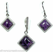 Genuine Russian Charoite & Topaz 925 Sterling Silver Pendant & Earrings Set