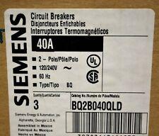 Siemens BQ2B040QLD 2 Pole 40A Circuit Breaker. Din Rail Mounts. Box of 3 - NEW