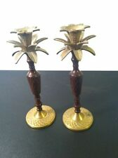 Pair of Brass & Lacquer Candle Taper Holders Palm Tree Pineapple-1 Needs Repair