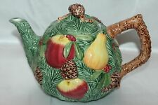 FITZ & FLOYD Christmas Pine Cone Tree Fruite Pear Apple Ceramic Tea Pot 1991