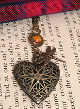 Outlander Dragonfly in Amber Crystal Celtic Heart Scottish Irish Locket Necklace