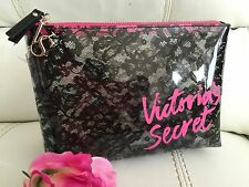 New Victoria Secret Pink Clear Black Floral Cosmetic Makeup Bag Purse! Elegant