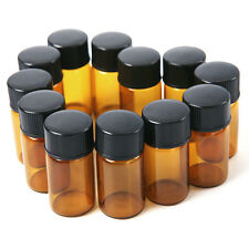 New 12pcs x 2 ml Amber Glass Essential Oil Bottle Orifice Reducer With cap