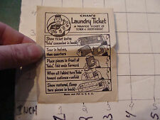 vintage paper: TRICK INSTRUCTIONS only; circa 1950's: CRAN'S LAUNDRY TICKET #2