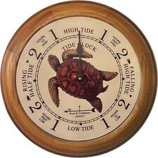 "6"" OAK TURTLE TIDE CLOCK BY WEST & CO."