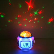New LED Digital Star Projector Music Alarm Clock With Calendar Thermometer