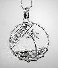 24mm Solid Sterling Silver Guam Seal Chamorro Proa Palm Tree Bamboo Ring Pendant