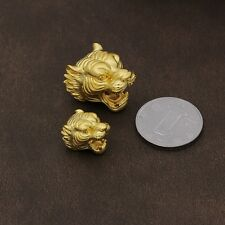 1pcs Authentic Pure 24K Yellow Gold 3D Craved Unisex Small Leopard Head Pendant