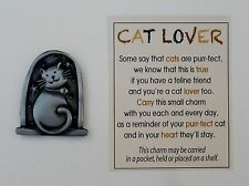 q4 1x CAT LOVER POCKET TOKEN Love me Love my Cat lucky charm crazy cat lady zinc