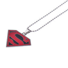 Hot Unisex Enamel Drip Stainless Steel Superhero Superman Red Chain Men Necklace
