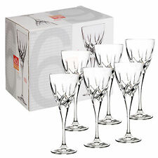 6 x 185ml RCR Trix Cut Glass Crystal Wine Glasses Dinner Wedding Gift Box Party