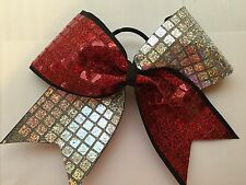 """Silver/red Sequin Squares On Black 3"""" WIDE Large Cheer Hair Bows! Cheerleading"""