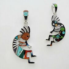 ADMIRABLE HANDMADE TURQUOISE/MULTICOLOR INLAY IN .925 SILVER KOKOPELLI PENDANT
