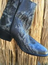 SAM & LIBBY LEATHER Snakeskin WESTERN Cowboy Side Zip Ankle Boots Womens Sz 5.5