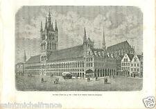 les Halles d'Ypres West Flanders Flandre Belgique Belgium GRAVURE PRINT 1884