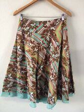 George Cotton Skirt Size 10 Brown Floral Mix With Mint Underskirt  R9252