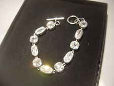 BIG EXTREMLEY SPARKLY STONES SOLID SILVER BRACELET-7.5.INCH LONG-BEST QUALITY