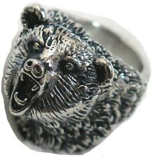 GRIZZLY BEAR HEAD SILVER STAINLESS STEEL MENS RING fashion jewelry BEARS BRS506