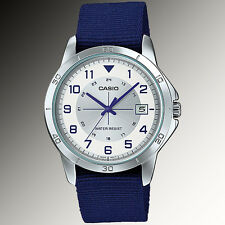 Casio MTP-V008B-7B Mens Analog Silver Tone Watch Blue Fabric Band Date New