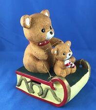 Vintage Baby Teddy Bear Christmas Sleigh Mann 1982 Music Box Ceramic Ornament