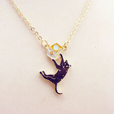 N937 Betsey Johnson Running Kitty Tabby Black Cat Playing w/ Dice Necklace US