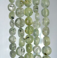 7X6-11X10MM MOSS POND PREHNITE GEMSTONE GREEN PEBBLE NUGGET LOOSE BEADS 14""