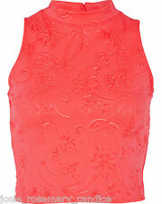New River Island UK 14 Coral Pink Floral Embossed High Neck Top Sleeveless