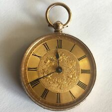 Lovely Antique 9ct Solid Gold Ladies Fob / Pocket Watch Gold Face Working