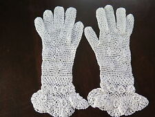 Vtg Antique Irish Crochet Lace Lovely Victorian Girls Gloves Small White Cotton