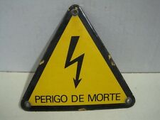 Antique badge plaque in metal and enamel danger of death Volts Mains Live Wire