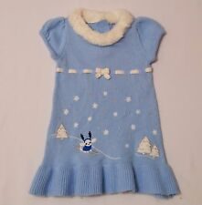 "Gymboree ""Snowflake Shimmer"" Snowflake Skiing Dog Trees Sweater Dress, 12-18 mos"
