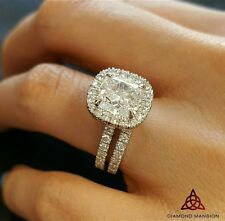 2.00ct Natural Cushion Halo French Pave Diamond Engagement Bridal Set