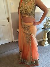Gorgeous Ready To Wear Peach Lengha Saree - Heavy