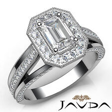 Emerald Cut Halo Pave Set Diamond Engagement Ring GIA G VS1 18k White Gold 1.4Ct